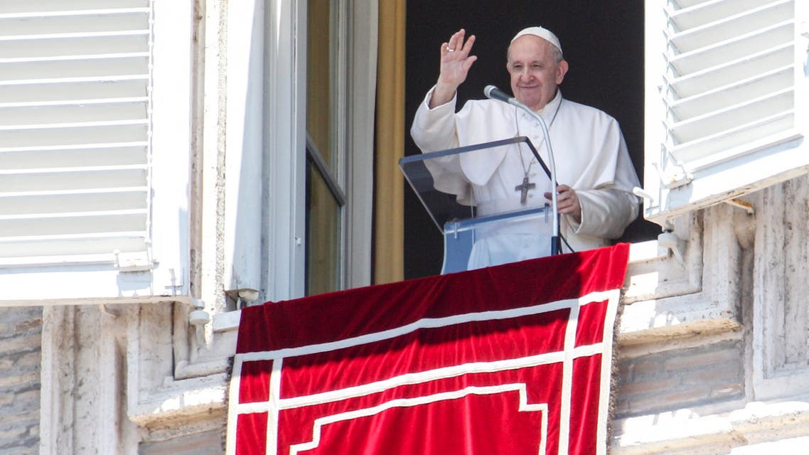 Pope Francis waves to faithful from his studio window overlooking St. Peter's Square at the Vatican on July 5, 2020. (AP)