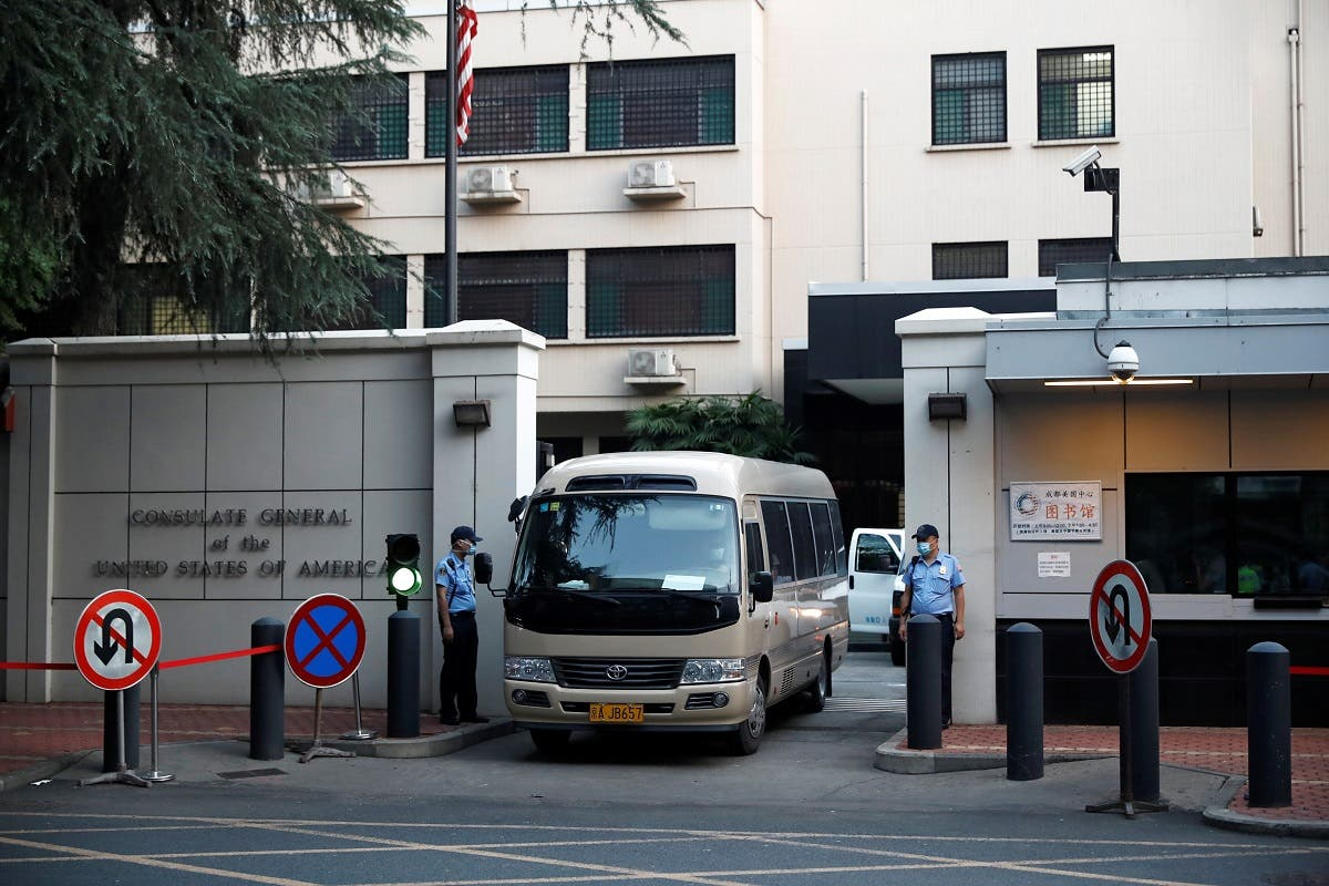 A vehicle leaves the US Consulate General in Chengdu, Sichuan province, China, on July 26, 2020. (Reuters)