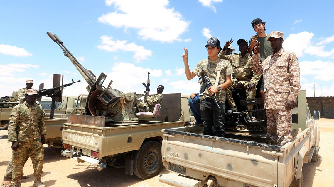 Fighters loyal to the UN-recognised Libyan Government of National Accord (GNA) secure the area of Abu Qurain, half-way between the capital Tripoli and Libya's second city Benghazi, against forces loyal to Khalifa Haftar, who is based in eastern Benghazi, on July 20, 2020. Since 2015, a power struggle has pitted the (GNA) against forces loyal to Haftar. The strongman is mainly supported by Egypt, the United Arab Emirates and Russia, while Turkey backs the GNA.