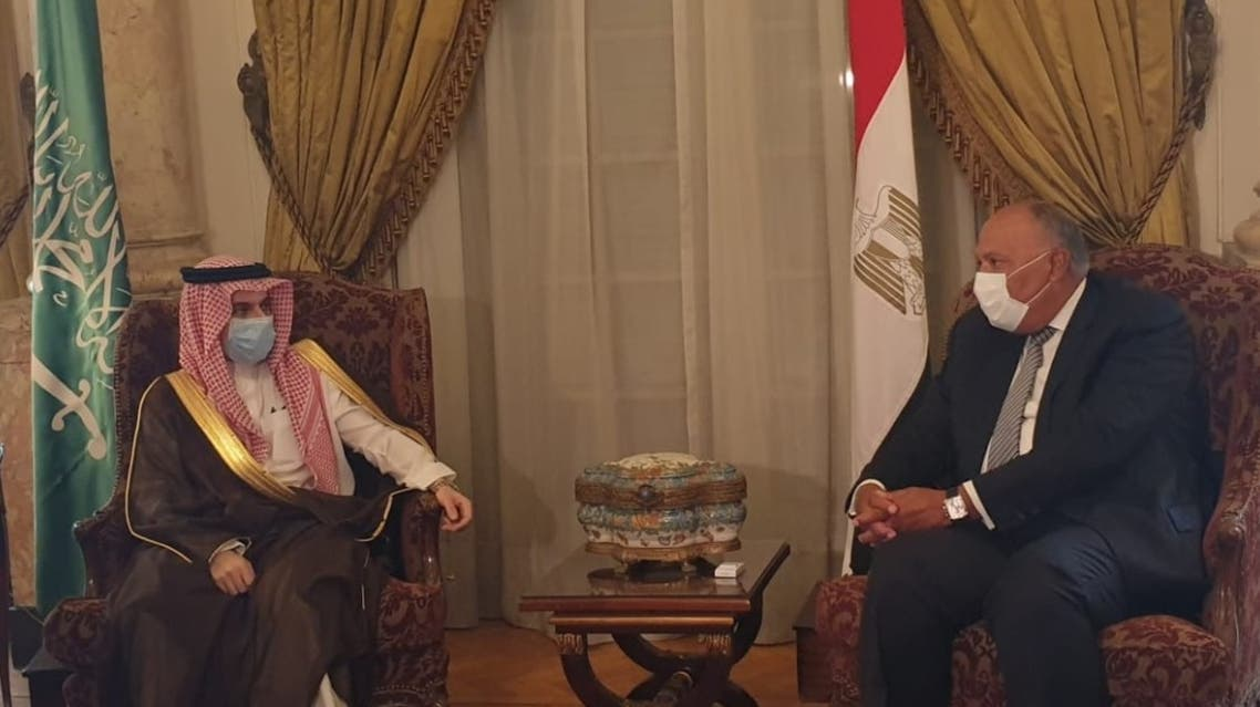 Saudi Arabia's Minister of Foreign Affairs Prince Faisal bin Farhan and his Egyptian counterpart Sameh Shoukry. (Twitter)