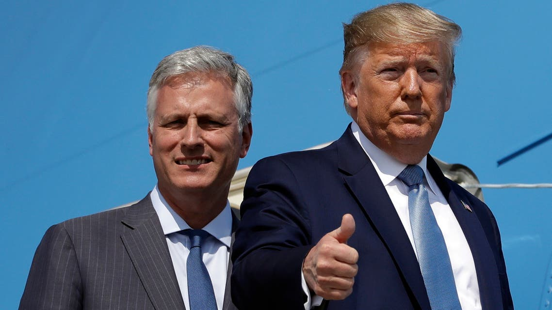 President Donald Trump and Robert O'Brien, just named as the new national security adviser, board Air Force One at Los Angeles International Airport, Wednesday, Sept. 18, 2019, in Los Angeles. (AP)