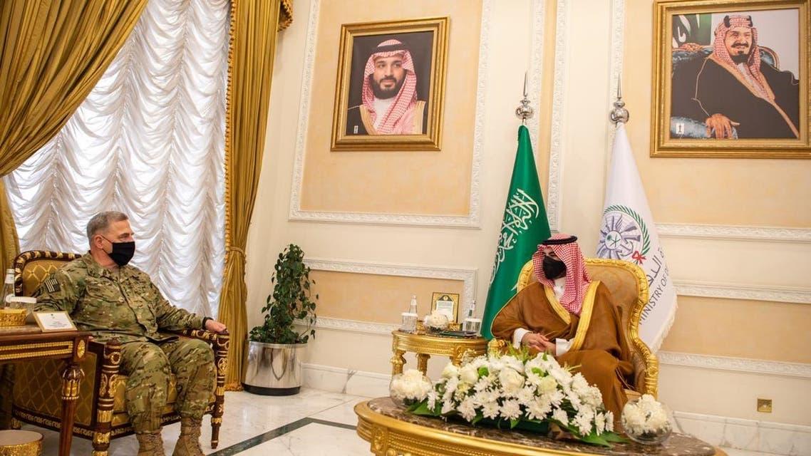 Saudi Arabia's Vice Minister of Defense Prince Khalid bin Salman meets US Chairman of the Joint Chiefs of Staff General Mark Milley in Riyadh, Saudi Arabia, July 27, 2020. (Saudi Ministry of Defense)