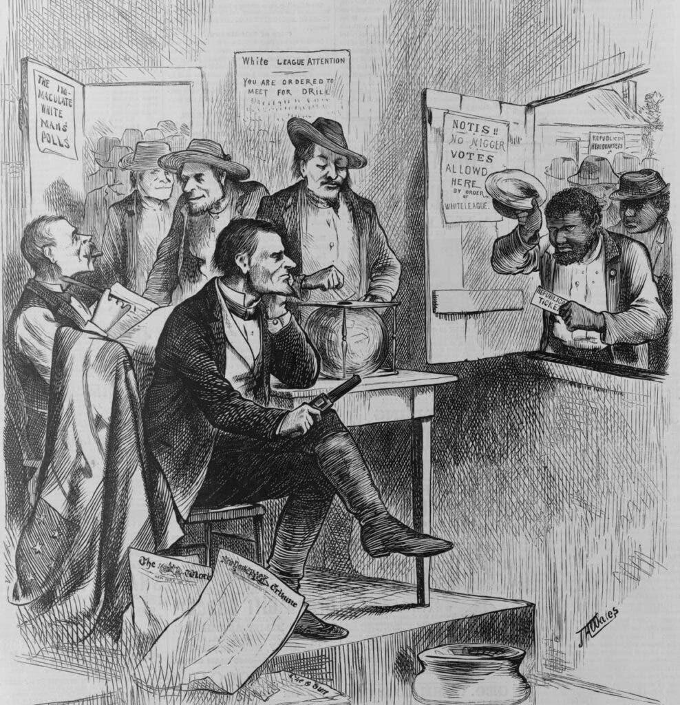 رسم كاريكاتيري يجسد عملية منع السود من الإنتخاب