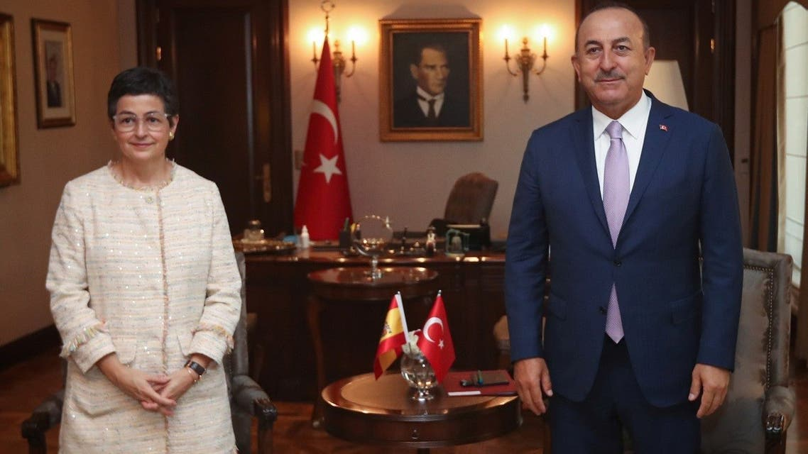 Turkish Foreign Minister Mevlut Cavusoglu meets with his Spanish counterpart Arancha Gonzalez Laya in Ankara, Turkey, on July 27, 2020.  (Reuters)