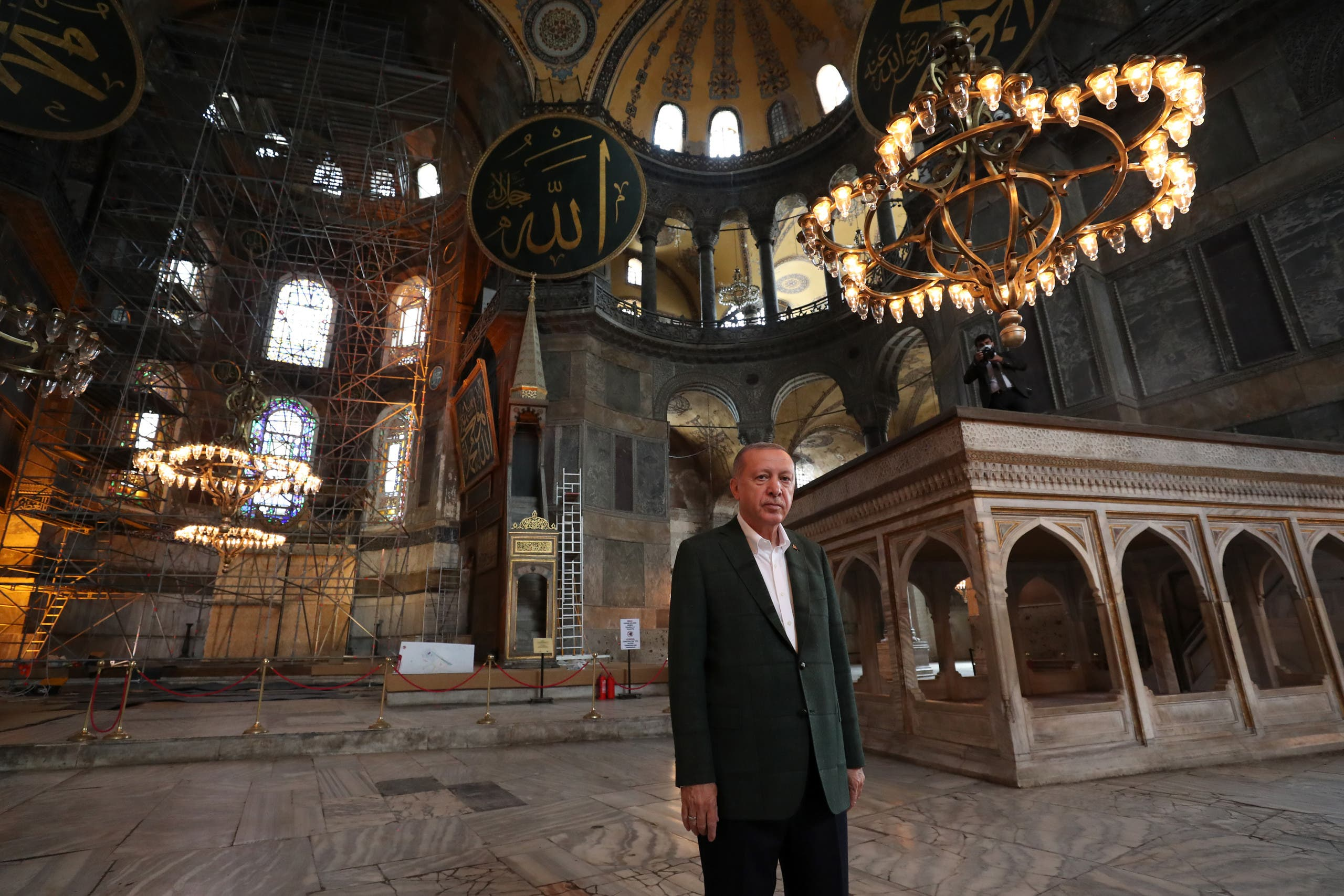 Turkish President Recep Tayyip Erdogan visiting Hagia Sophia monument in Istanbul, on July 19, 2020. (AFP)