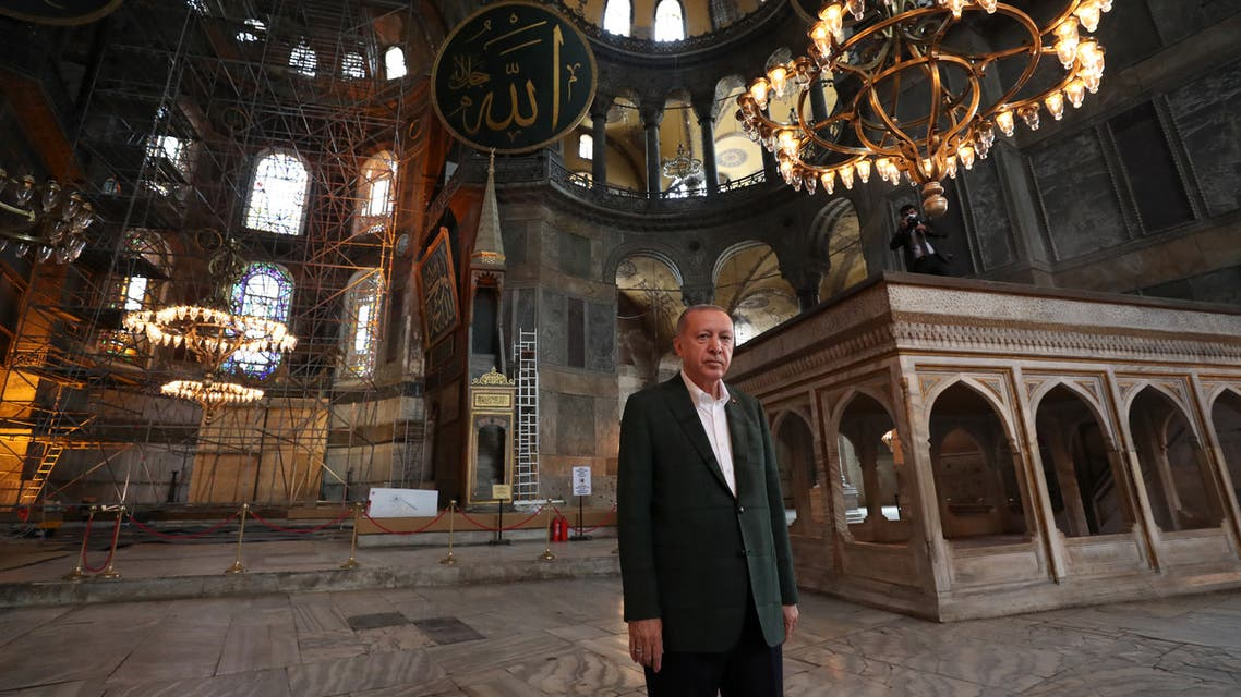 Turkish President Recep Tayyip Erdogan visiting Hagia Sophia monument in Istanbul, on July 19, 2020. (AFP)