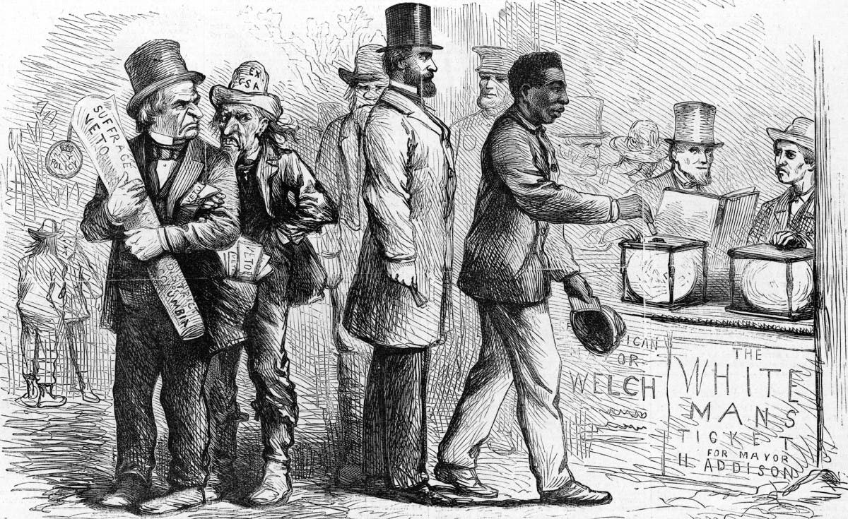 رسم كاريكاتيري يجسد الرئيس أندرو جونسون وعدد من مساعديه وهم غاضبون بسبب قيام أحد السود بالإدلاء بصوته