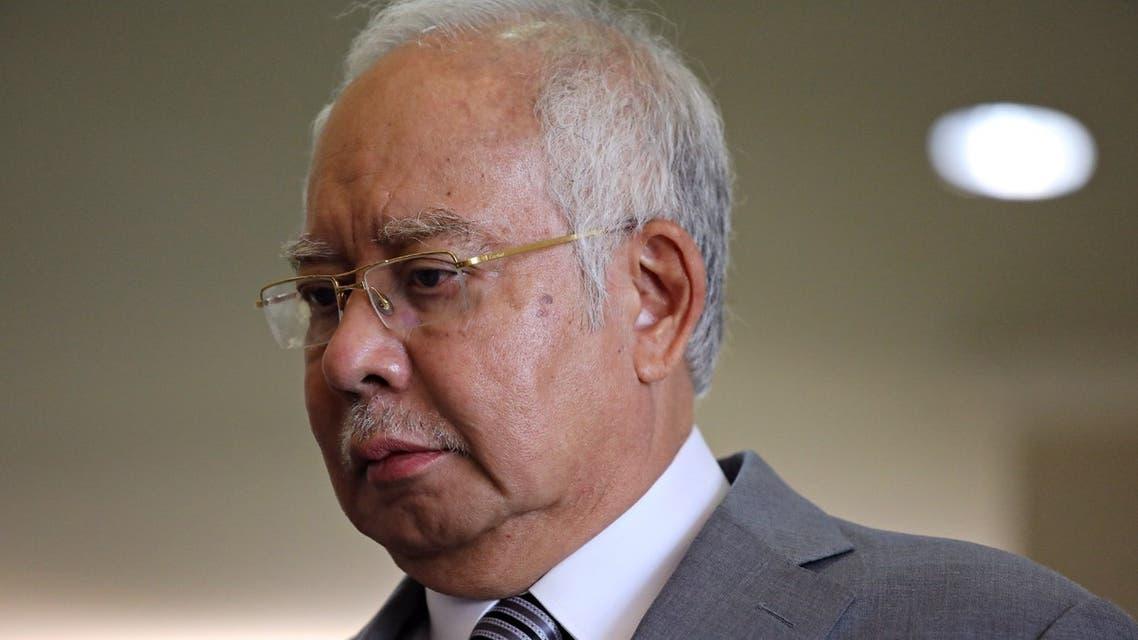 Former Malaysian Prime Minister Najib Razak reacts during a break at Kuala Lumpur High Court in Kuala Lumpur, Malaysia, February 5, 2020. (Reuters)