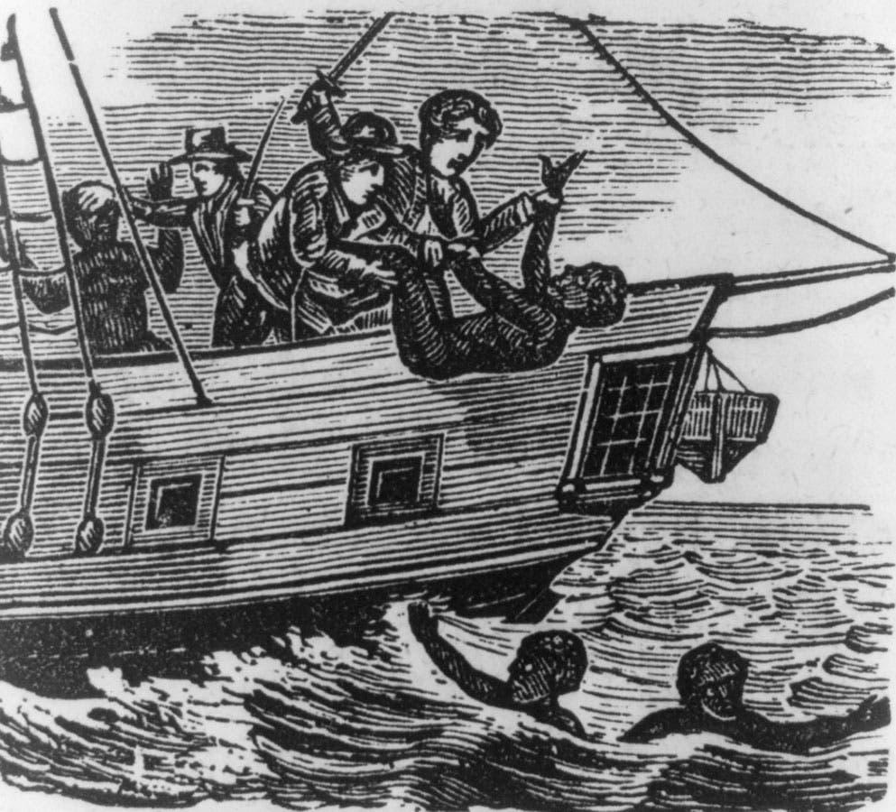 رسم تخيلي يجسد إحدى عمليات رمي العبيد بعرض المحيط الأطلسي
