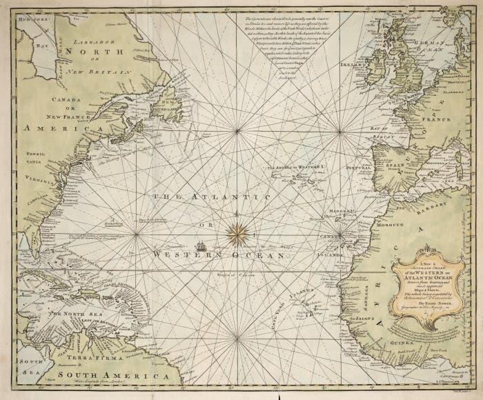 خريطة تعود لمطلع القرن التاسع عشر للمحيط الأطلسي