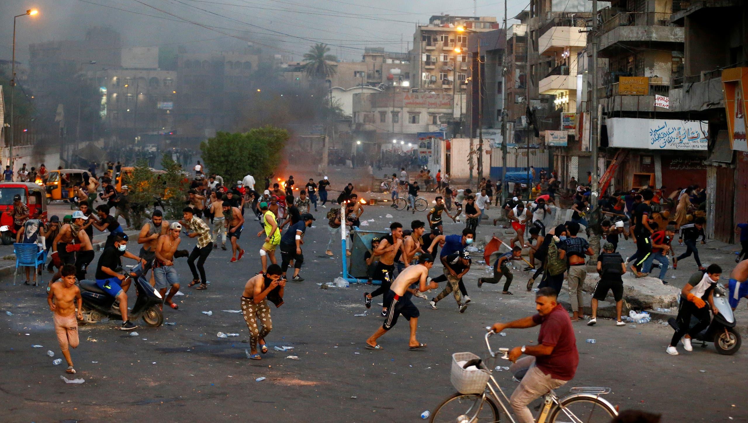 من الاحتجاجات في بغداد الاثنين