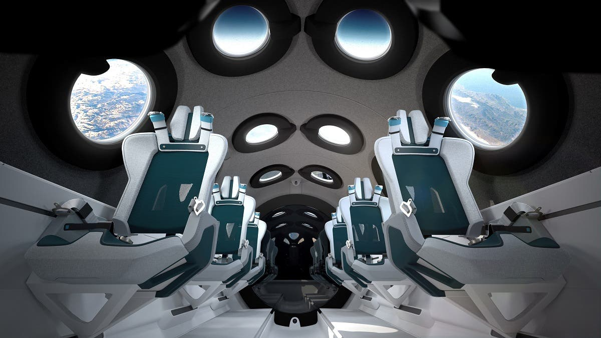 The interior cabin of billionaire Richard Branson's space tourism firm Virgin Galactic's SpaceShipTwo is seen in an artist's rendition released on July 28, 2020. (Reuters)