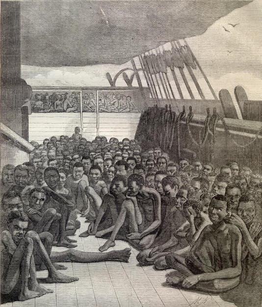 رسم تخيلي لعدد من العبيد الأفارقة أثناء نقلهم نحو القارة الأميركية