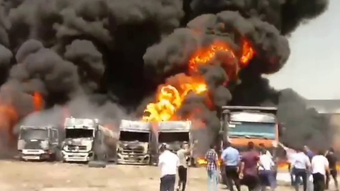 Several fuel tankers exploded in an industrial park in western Iran. (Screengrab)