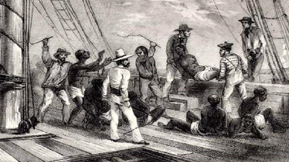 لوحة لعملية رمي العبيد بالمحيط