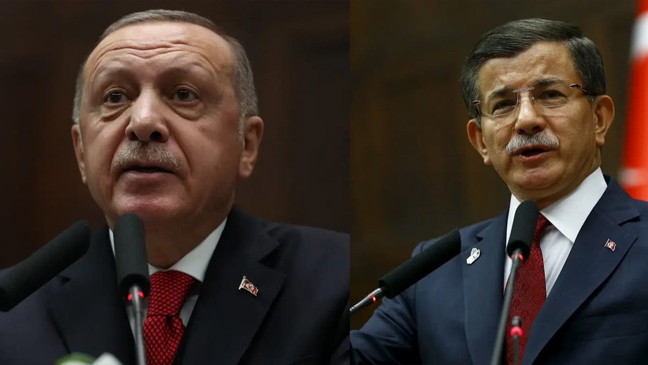 Turkish President Erdogan, left, and former Turkish Prime Minister Ahmet Davutoglu, right. (AP)