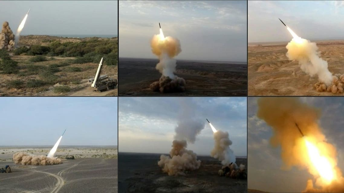 This combination of image grabs from footage obtained from Iranian State TV IRIB on July 29, 2020, reportedly show ballistic missiles being launched by IRGC during the last day of military exercises near sensitive Gulf waters. (IRIB NEWS AGENCY / AFP)