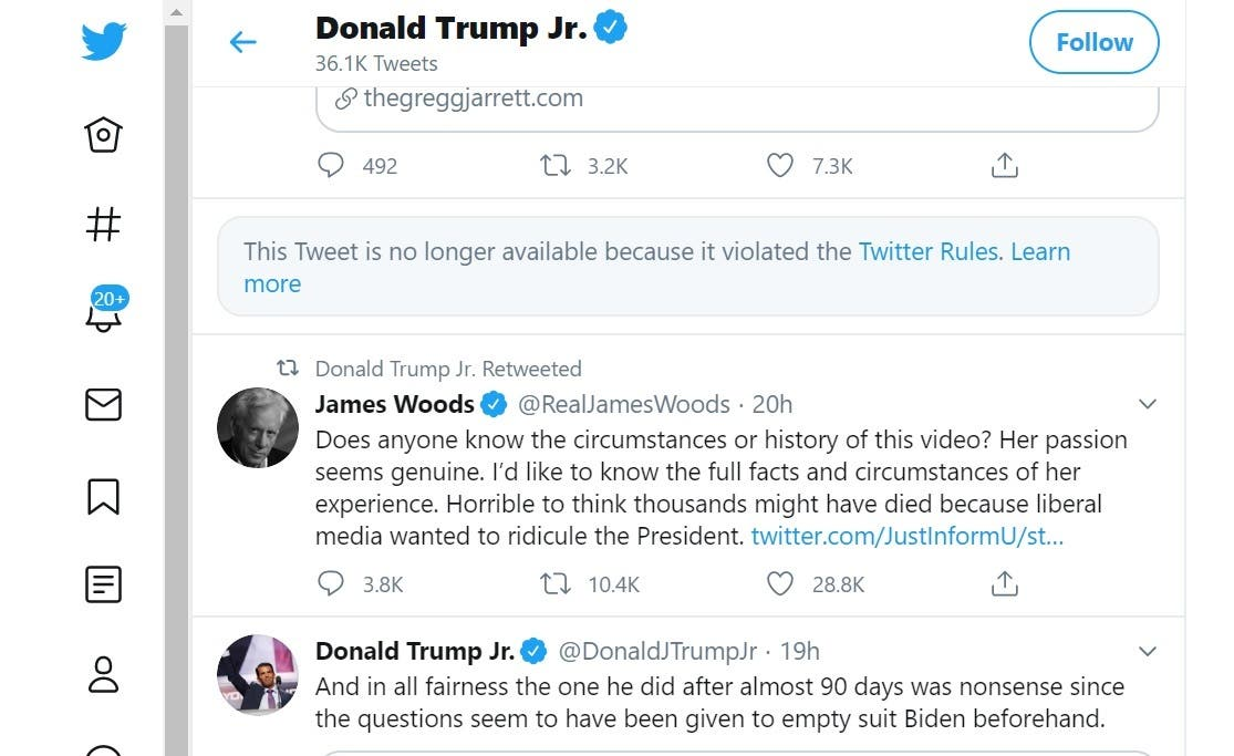 A screenshot says that the Tweet was deleted because it violated Twitter rules. (Twitter/ via @DonaldJTrumpJr)