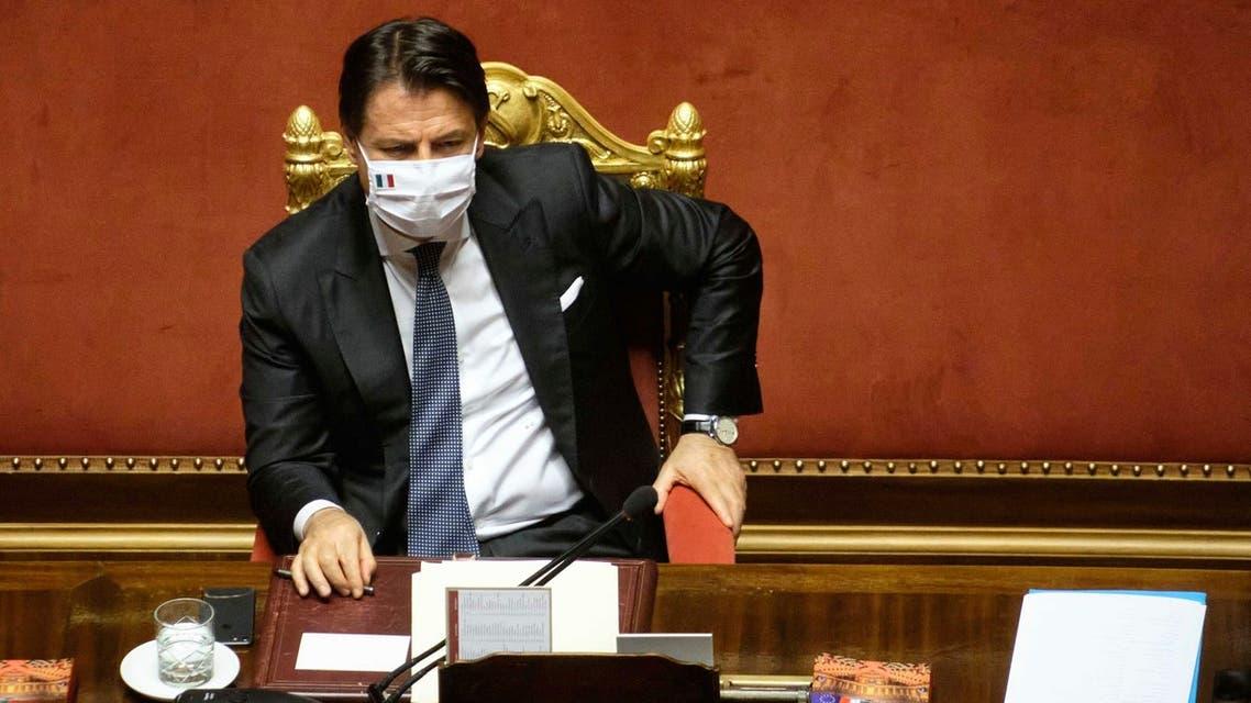 Italian Prime Minister Giuseppe Conte addresses the Senate on extension of Coronavirus emergency measures on July 28, 2020. (AP)