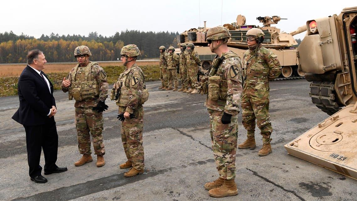 U.S. Secretary of State Mike Pompeo talks to US soldiers based in Grafenwoehr, Germany on Nov. 7, 2019. (AP)