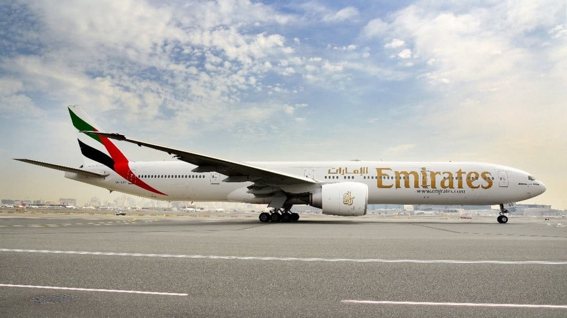A general view of an Emirates Airlines' Boeing 777-300ER aircraft in Dubai, United Arab Emirates in this undated picture obtained June 25, 2020. (Emirates Airlines via Reuters)