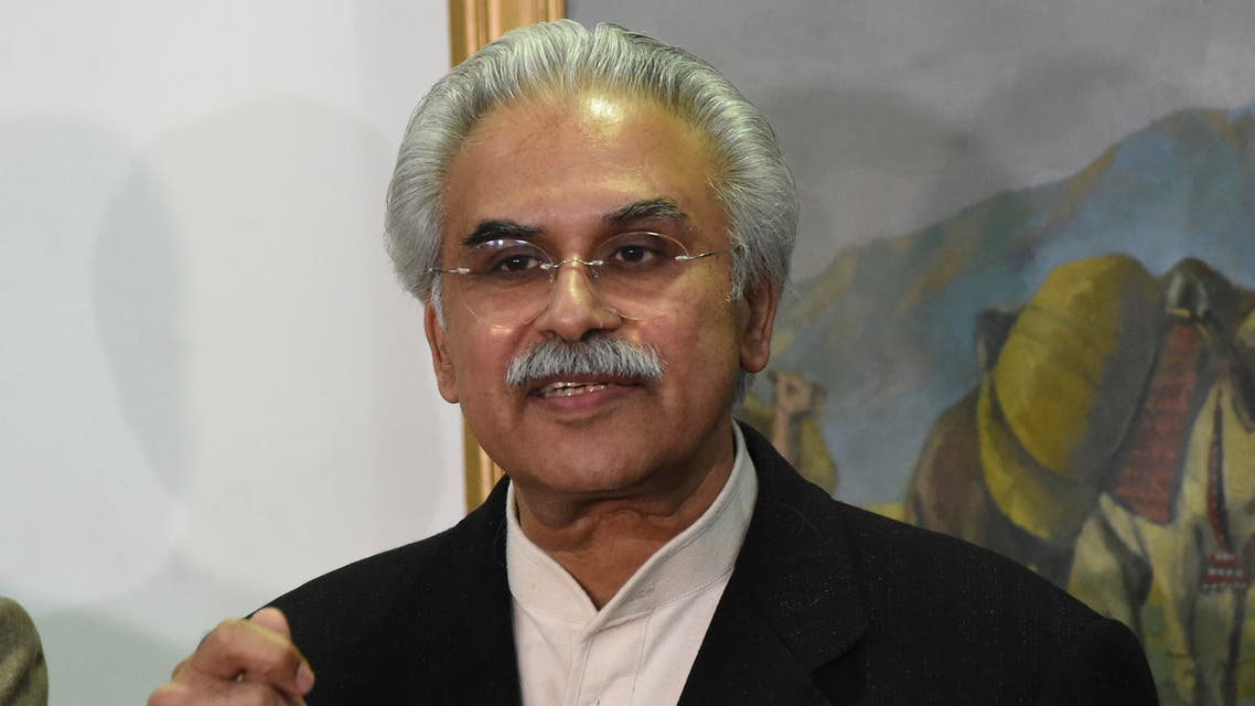 Dr. Zafar Mirza, Special Assistant to the Prime Minister on National Health, speaks to reporters in Quetta, Pakistan on Feb. 26, 2020. (AP)