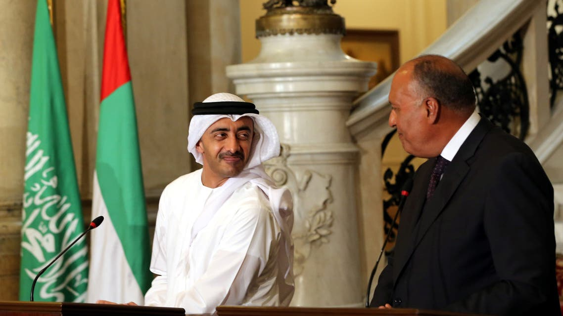 UAE Foreign Minister Abdullah bin Zayed al-Nahyan and Egyptian Foreign Minister Sameh Shoukry attend a press conference in Cairo, Egypt, July 5, 2017. (Reuters)
