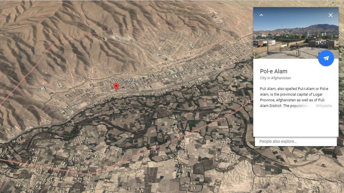 city of Puli Alam in Logar province Google Earth map