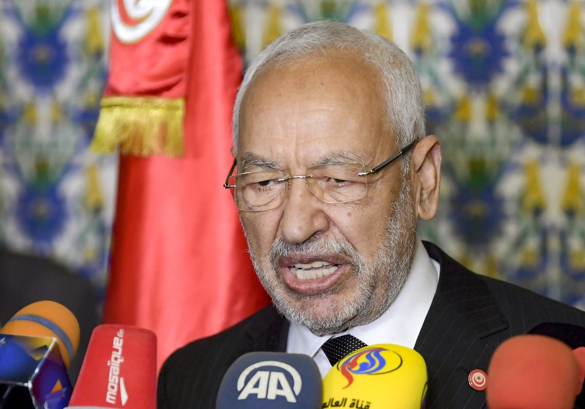 Tunisian Parliament Speaker Rached Ghannouchi speaks at a press conference following a plenary session at the parliament in the capital Tunis . (File photo: AFP)