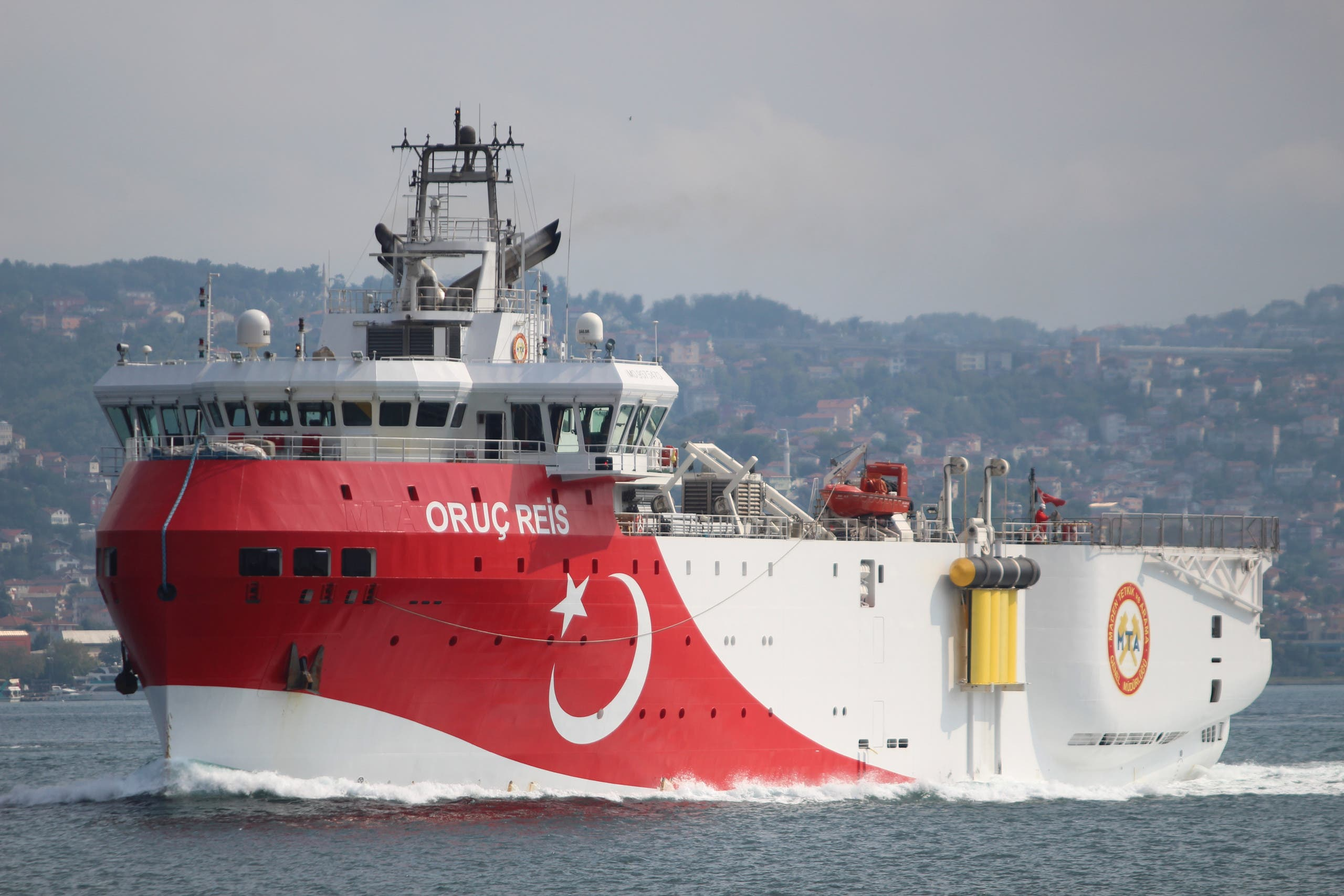 Turkish seismic research vessel Oruc Reis is seen in Istanbul, Turkey, August 22, 2019. (Reuters)