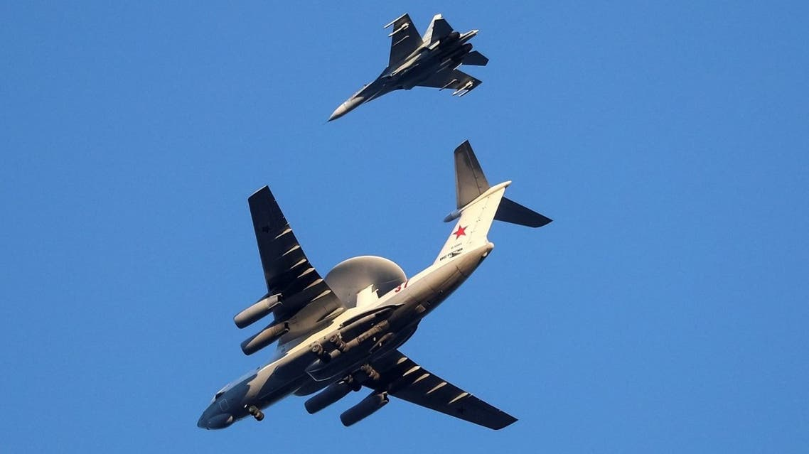Russian Air Force Beriev A-50 early warning aircraft and Sukhoi Su-27 jet fighter fly in Kaliningrad, Russia April 25, 2020. (File Photo: Reuters)