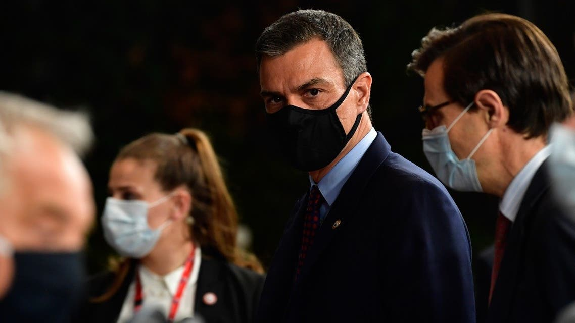 Spain's Prime Minister Pedro Sanchez leaves after a meeting of an EU summit on a coronavirus recovery package at the European Council building in Brussels on July 18, 2020. (AFP)