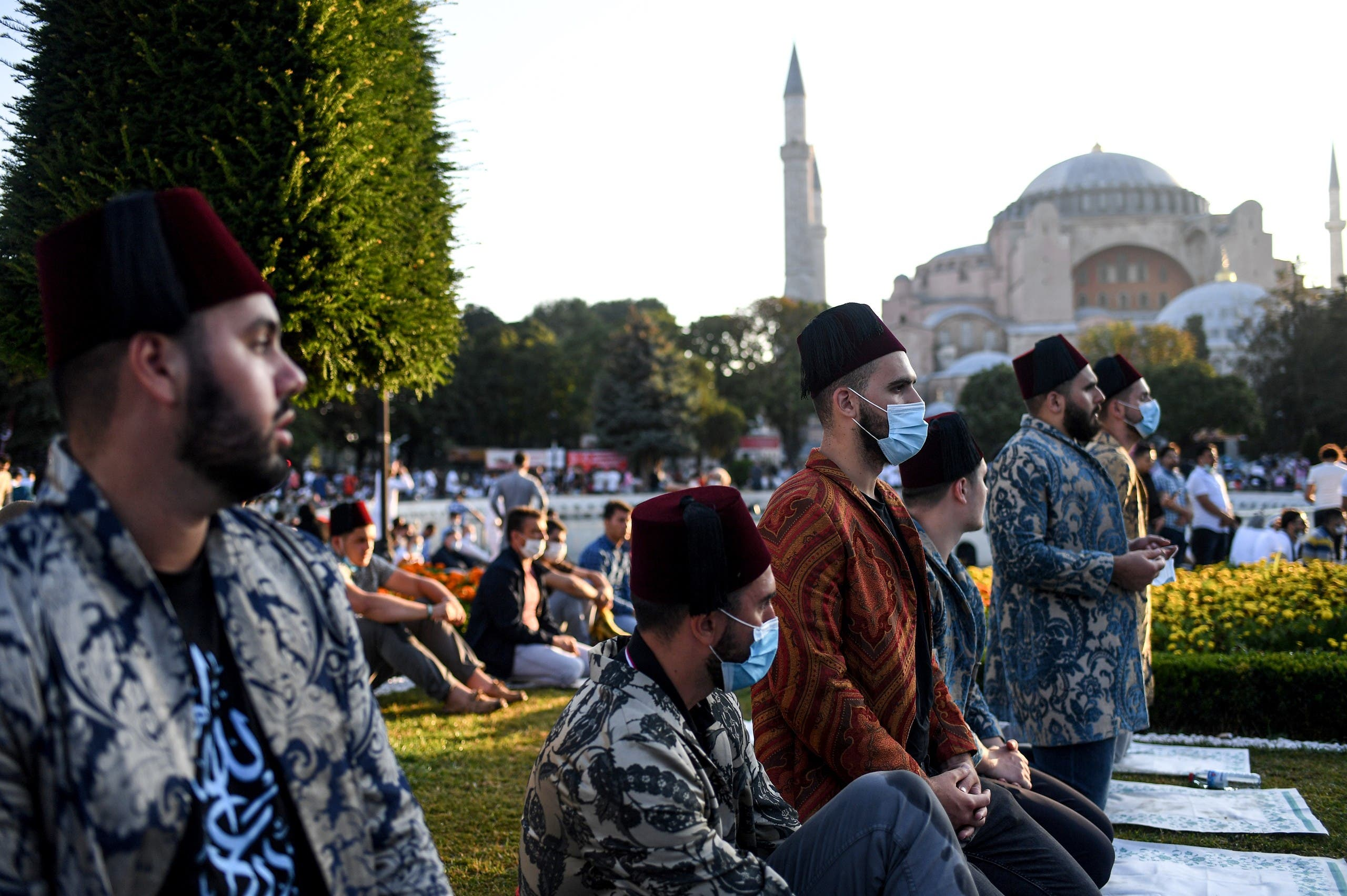 Worshippers take part in the Eid al-Adha prayers outside Hagia Sophia in Istanbul on July 31, 2020. (AFP)