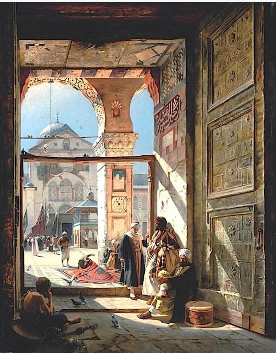 بوابة المسجد الأموي للرسام الألماني غوستاف بورنفيند