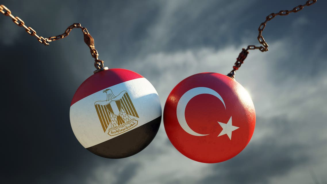 Wrecking Balls Textured with Egyptian and Turkish Flags Over Dark Stormy Sky stock photo