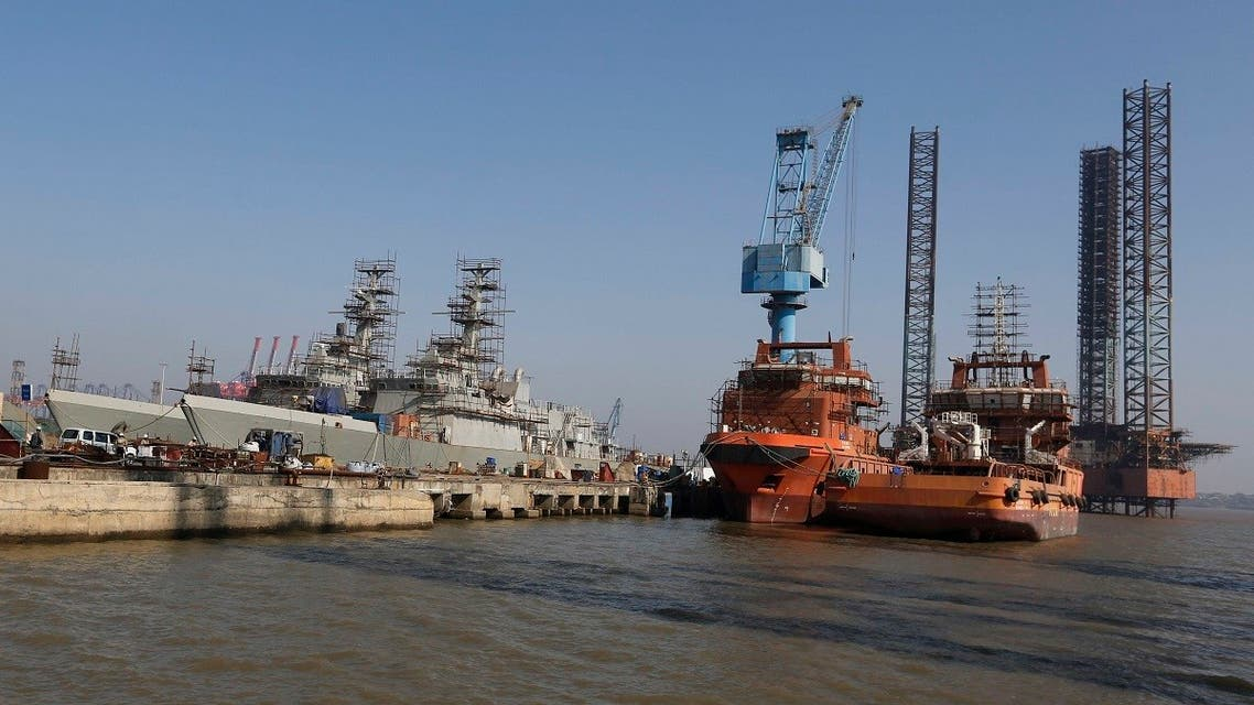 AP_18A general view of Reliance Naval and Engineering Ltd (RNEL)'s shipyard at Pipavav, Gujarat state, India, Wednesday, Oct. 24, 2018. (AP)297392220361
