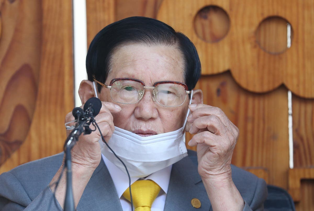 Lee Man-hee, leader of the Shincheonji Church of Jesus, speaks during a press conference at a facility of the church in Gapyeong on March 2, 2020. (AFP)