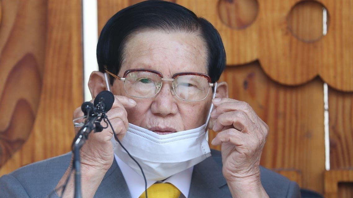 000_1PI4XFLee Man-hee, leader of the Shincheonji Church of Jesus, speaks during a press conference at a facility of the church in Gapyeong on March 2, 2020. The leader of a South Korean sect linked to more than half the country's 4,000-plus coronavirus cases apologized on March 2 for the spread of the disease. (AFP)