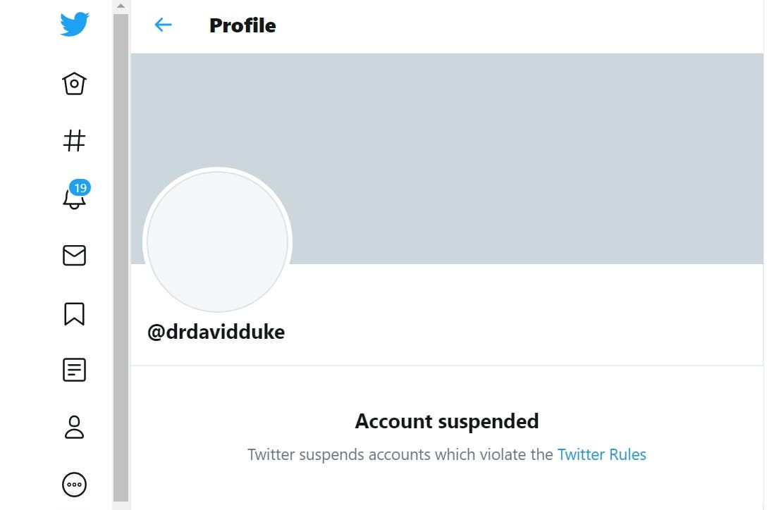 A screengrab of the suspended account of David Duke. (Twitter)