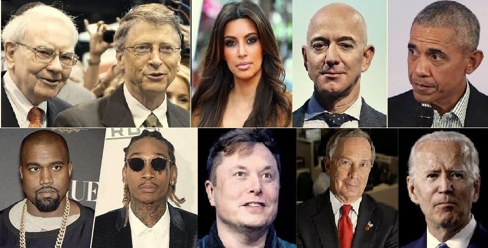 فوق، باراك أوباما وجيف بيزوس وكيم كارداشيان وبيل غيتس ووارن بافيت، ثم جو بايدن ومايكل بلومبيرغ وأيلون مسك ووزير خليفة وكانييه ويست
