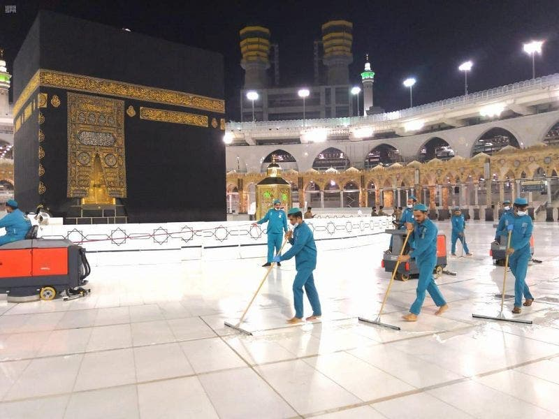 54,000 liters of disinfectants used daily to clean Mecca's Grand Mosque. (Supplied)