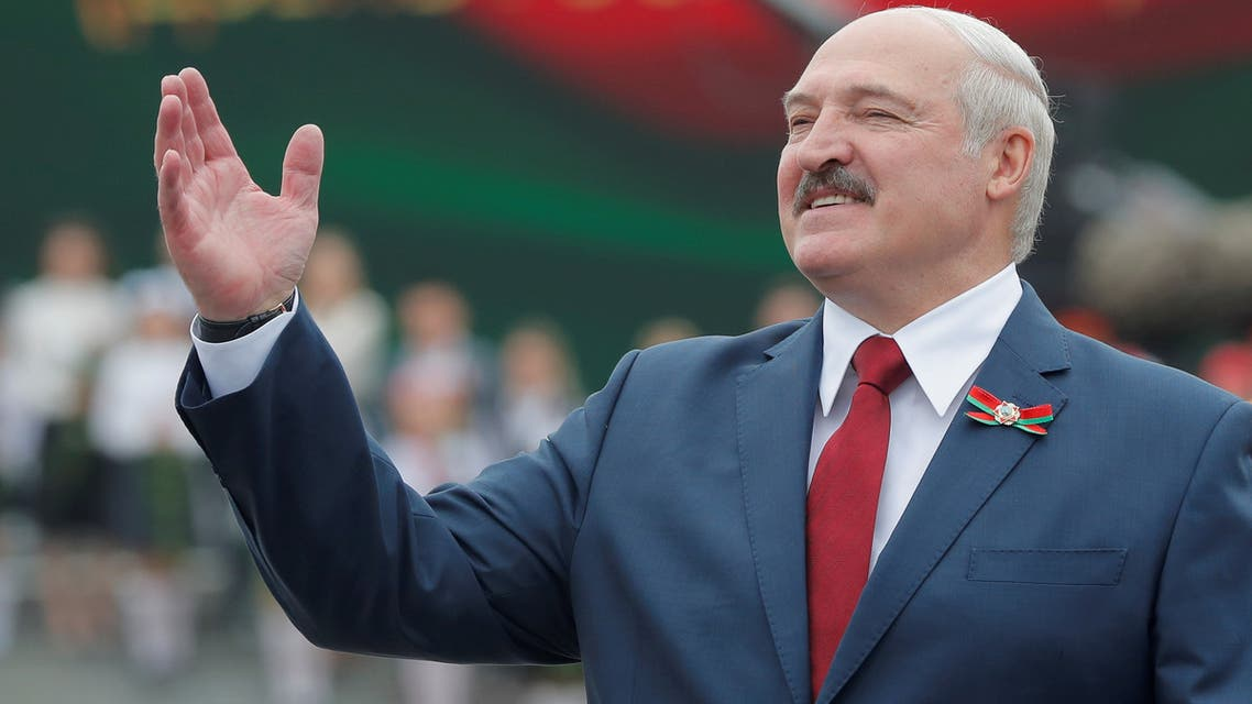 FILE PHOTO: Belarusian President Alexander Lukashenko gestures as he takes part in the celebrations of Independence Day in Minsk, Belarus July 3, 2020. REUTERS/Vasily Fedosenko/File Photo