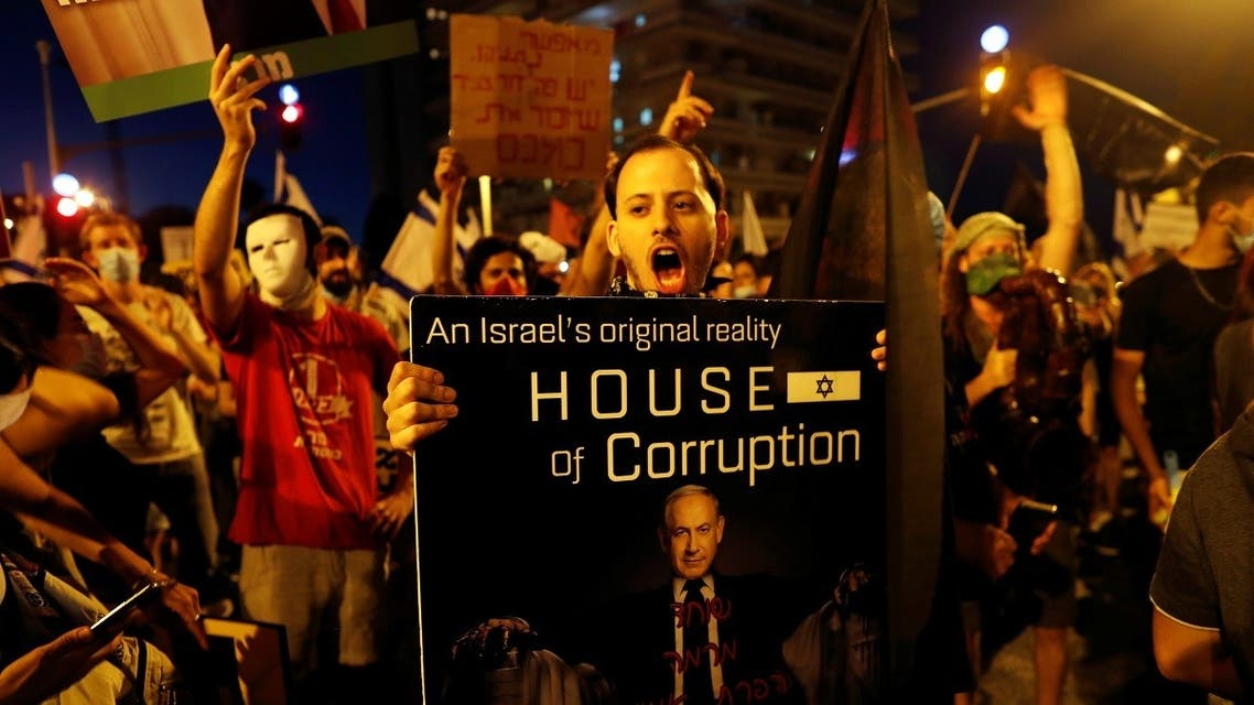 Israelis protest against PM Netanyahu's alleged corruption and the way of handling the COVID-19 crisis in Jerusalem. (Reuters)
