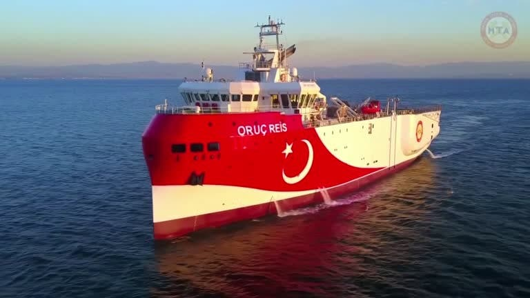 A file photo of the Turkish seismic exploration ship 'Oruc Reis' sailing at sea. (Reuters)