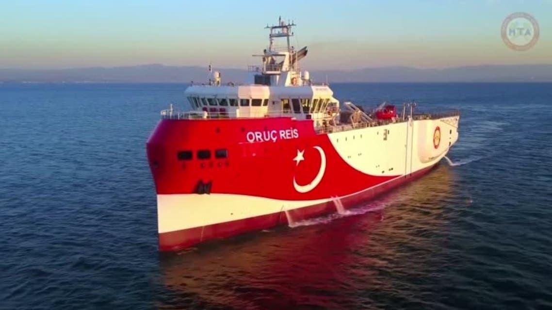 A file photo of Turkish seismic exploration ship 'oruc reis' sailing at sea. (Reuters)