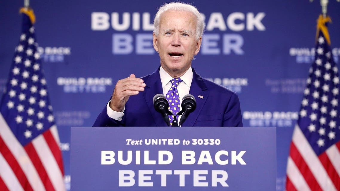 """Democratic presidential candidate former Vice President Joe Biden speaks at a campaign event at the William """"Hicks"""" Anderson Community Center in Wilmington, Del., Tuesday, July 28, 2020. (AP)"""