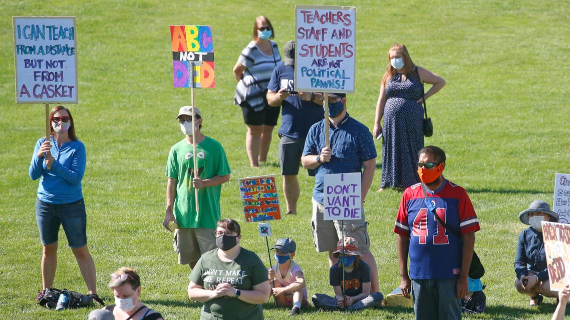 People attend an Utah Safe Schools Mask-In urging the governor's leadership in school reopening during a rally on July 23, 2020, in Salt Lake City. (File photo: AP)
