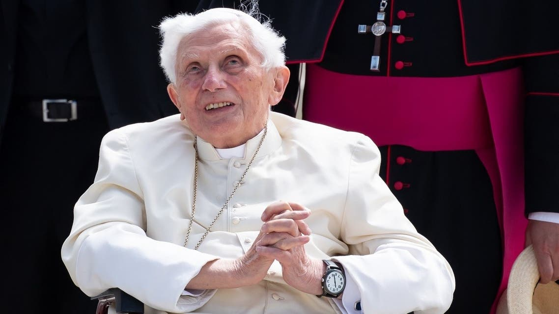 This file photo taken on June 22, 2020 shows former pope Benedict XVI posing for a picture at the airport in Munich, southern Germany, after visiting his brother and before his departure. (AFP)