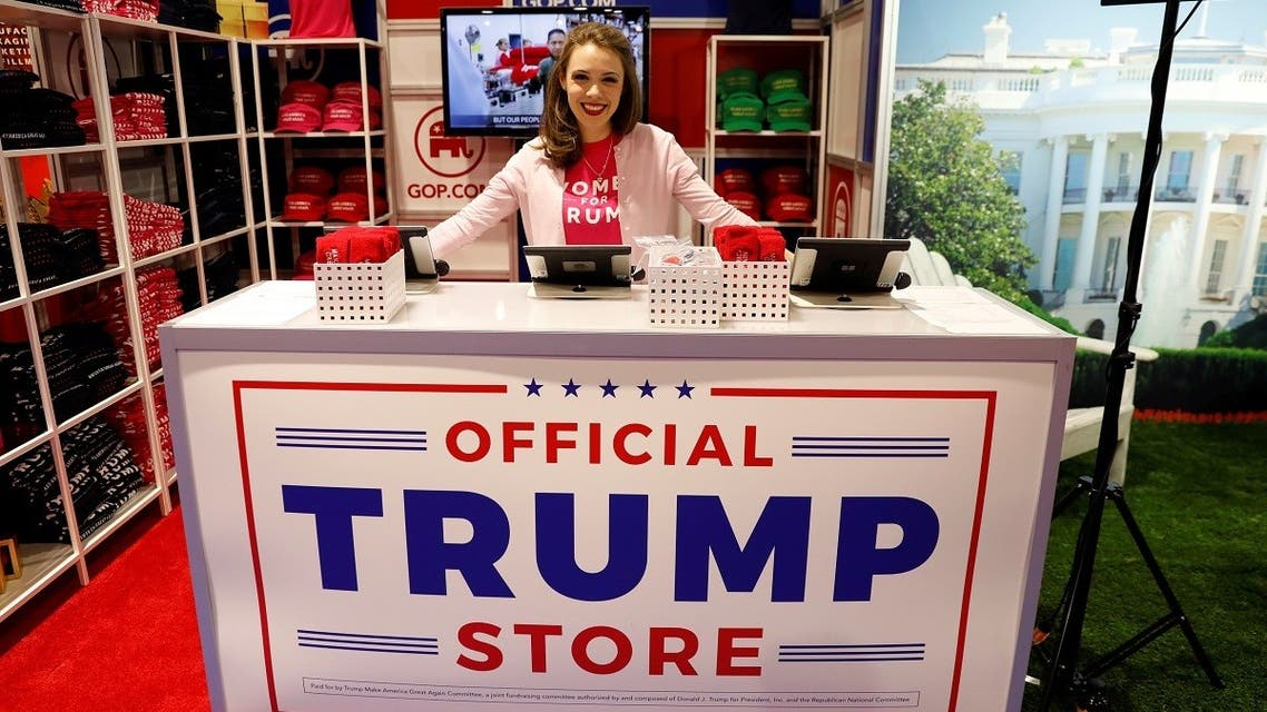 Merritt Corrigan tends the Official Trump Store at the Conservative Political Action Conference (CPAC) in Maryland, February 22, 2018. (File Photo: Reuters)
