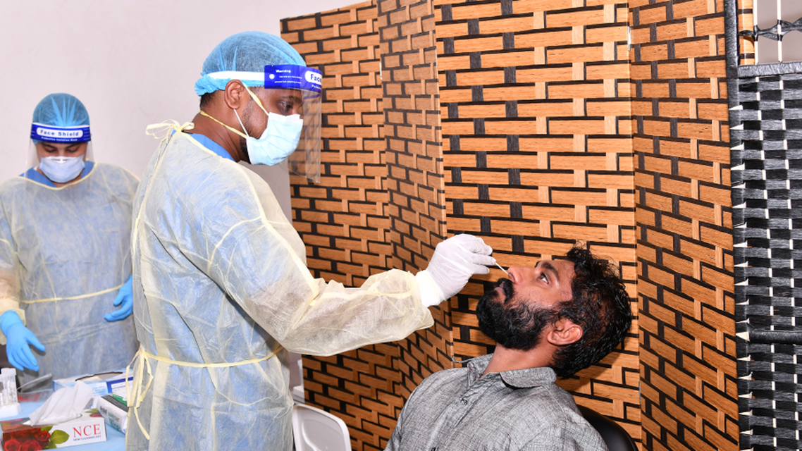 A man is tested at a COVID-19 testing center in Dibba Fujairah, UAE. (WAM)